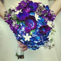White Stephanotis, Blue Hydrangea, Purple Anemones, Grape Color Stock Wedding Bouquet