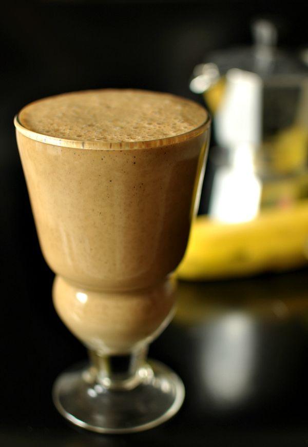 Coffee Banana Smoothie- use Greek yogurt for protein.