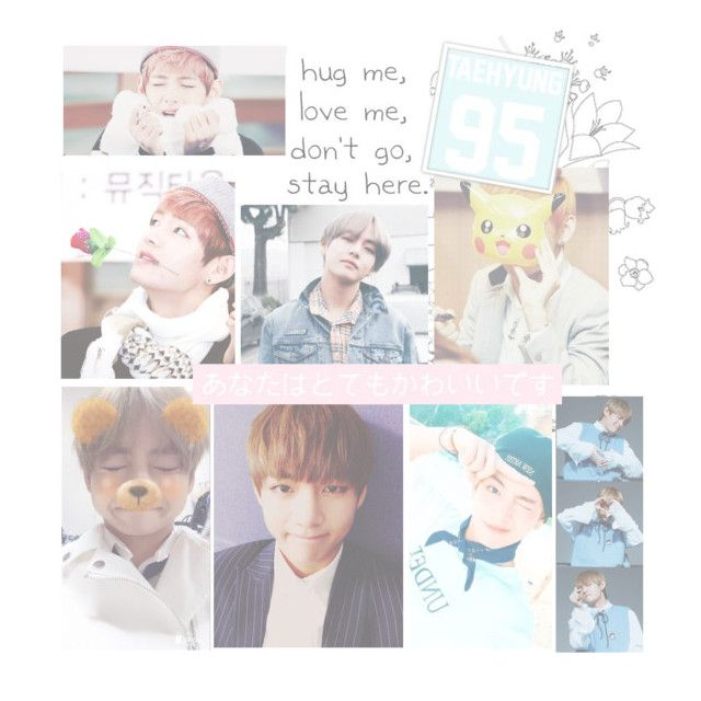 """HAPPY LATE BIRTHDAY!!! TAEHYUNG!! 💗💙"" by kawaiirasberrytea ❤ liked on Polyvore featuring art"