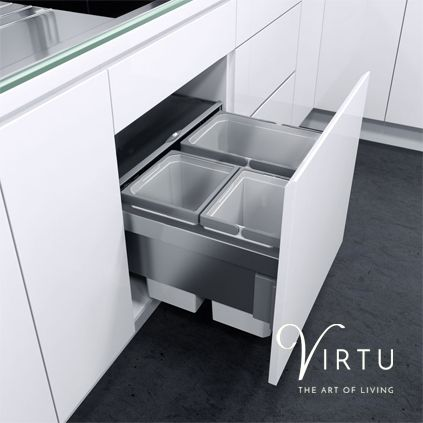 Pull-Out Waste Bin (3 Large) #KitchenStorage #CabinetStorage #StorageSolutions #KitchenBins #KitchenWaste #WasteBins #Virtu #VirtuKitchens http://www.virtukitchens.uk/storage/