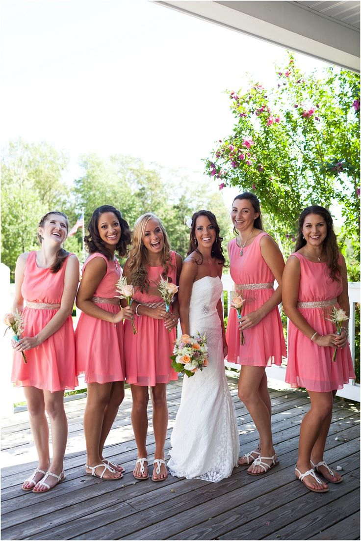 The 25 best coral bridesmaids ideas on pinterest coral coral bridesmaid dresses a maine summer wedding regan carter photography ombrellifo Image collections