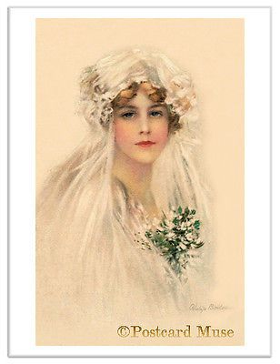 BOILEAU YOUNG BRIDE Vintage Postcard Image Greeting Card Or Art Print BO006