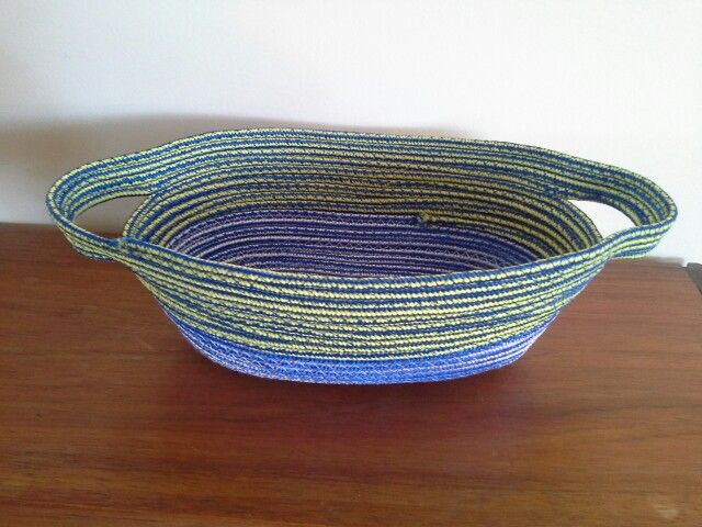 Machine stitched coil bowl