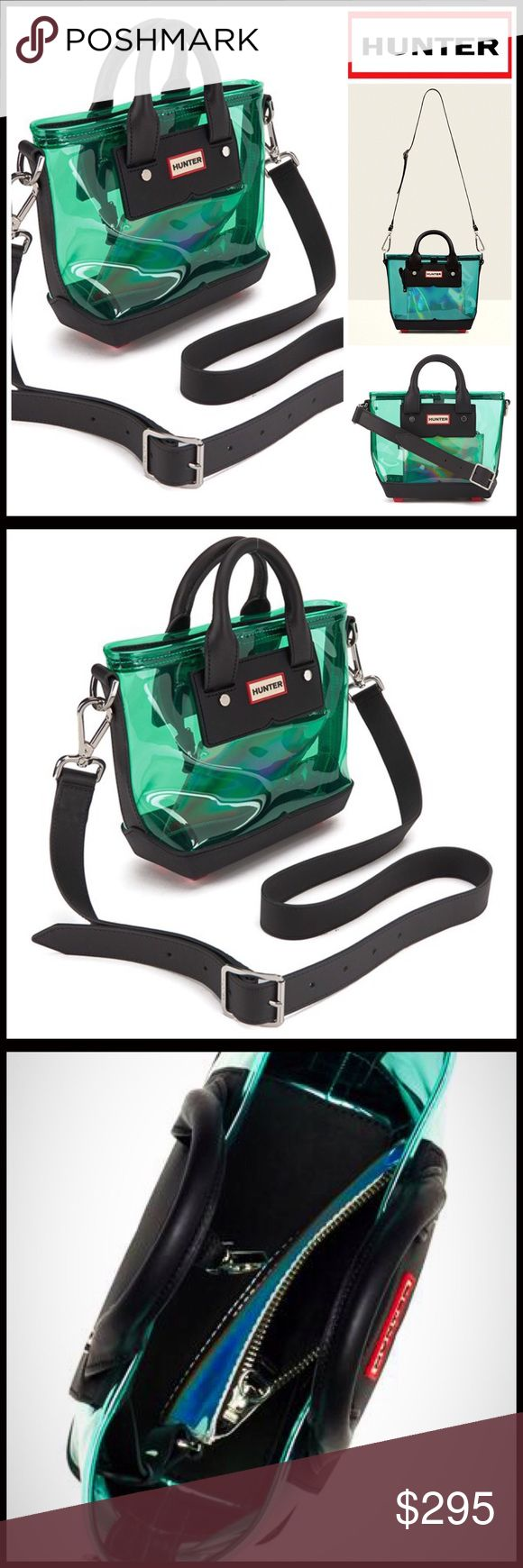 """HUNTER Original Tote Crossbody 💟NEW WITH TAGS💟   HUNTER Original Mini Tote Crossbody  * Exterior PVC, leather & rubber construction w/contrast feet  * Dual leather handles, top zip closure, & detachable/adjustable strap; Dust Bag included   * Interior wall zip pocket  * Approx. 8""""H x 10.5""""W x 3""""D, 3.5"""" handle drop, 20-24"""" strap drop  * Hunter logo; Silver-tone details.  * A firm structure bottom Material:PVC, Leather, rubber, & fabric Color- Clear green, black Saddle 🚫No Trades🚫 ✅ Offers…"""