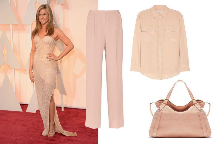 Oscars fashion trend, spotted on Jennifer Aniston: dusty blush tones
