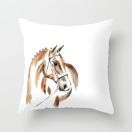 Bay Watercolour Horse Throw Pillow by Art By Chrissy Taylor - $20.00