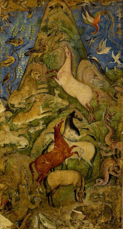 Simurg'un Avlanması [Johnson Collection] - caption: 'An assembly of animals and bird c.1610