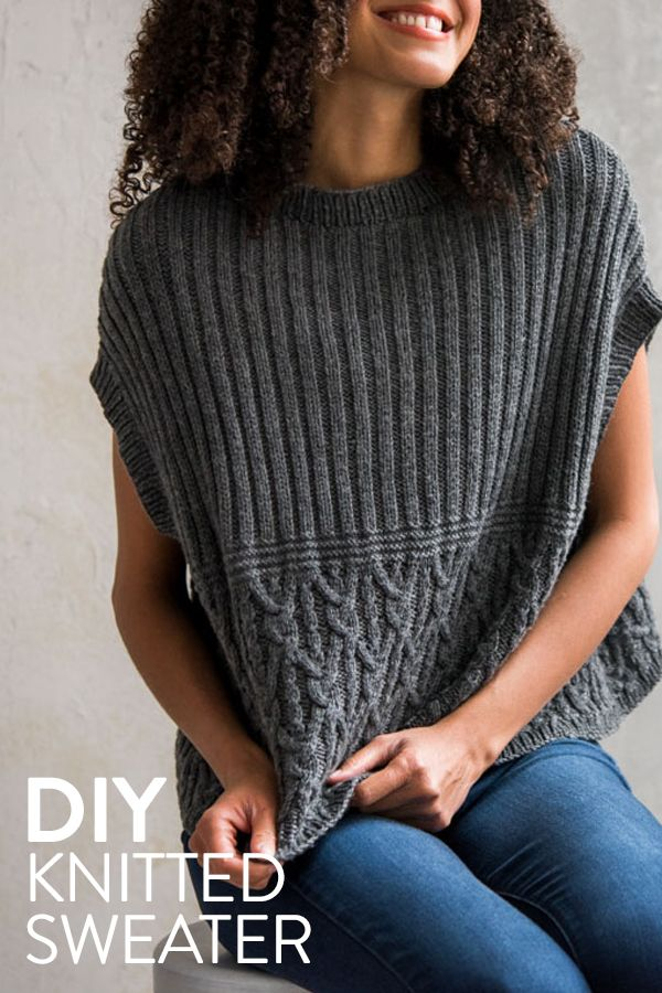 This classic sleeveless knit sweater will quickly become your favorite outfit. Get the knitting pattern and make your own!