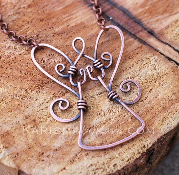 Guardian Angel Necklace Pendant Oxidized by Karismabykarajewelry, $32.00