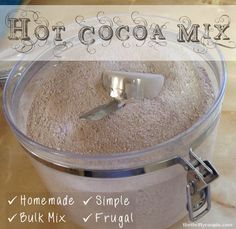 Homemade bulk dry hot cocoa mix to make hot, creamy, tasty hot chocolate on the cheap! Really easy and tasty recipe! This recipe will save you tons of money on hot cocoa mix!