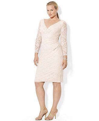 Lauren Ralph Lauren Plus Size Long Sleeve Lace Sheath
