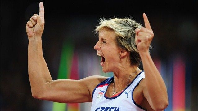 Barbora Spotakova of the Czech Republic.  Barbora Spotakova celebrates winning the gold medal in the women's Javelin Throw on Day 13 at London 2012.
