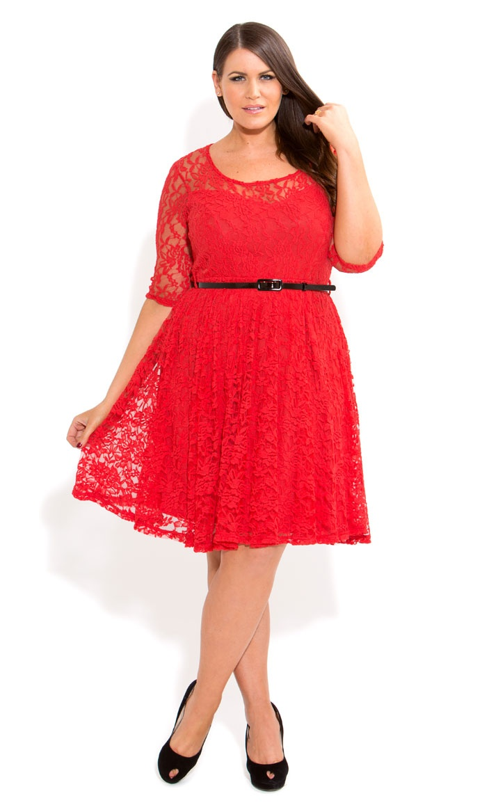 City Chic - ¾ LACE DANCER DRESS - Women's plus size fashion