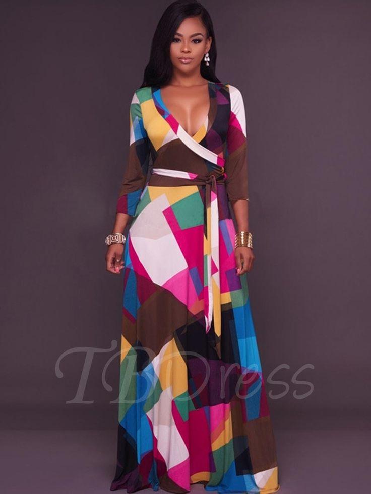 Tbdress.com offers high quality Color Block Lace up Women's Maxi Dress Maxi Dresses unit price of $ 23.99.