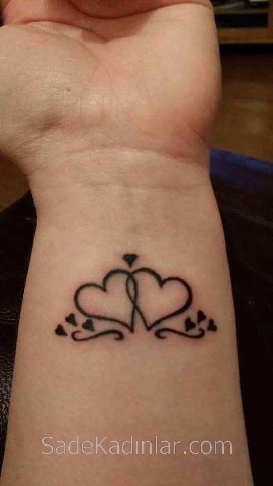 Küçük Dövme Modelleri Tattoo Çift Kalp Figürlü Bilek Dövmeleri