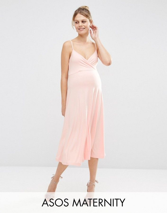 ASOS Maternity Midi Skater Dress With Strappy Back And Wrap Front