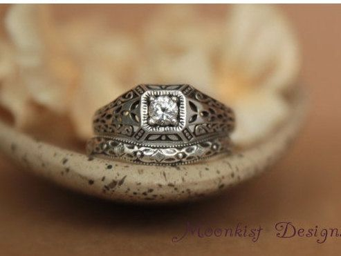 ON SALE Edwardian Style Moissanite Filigree por moonkistdesigns