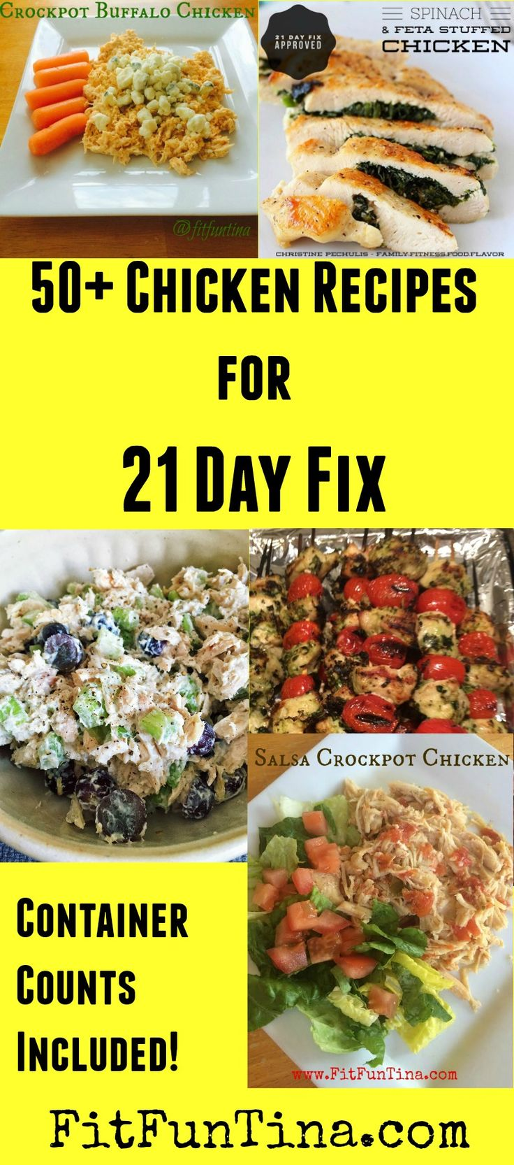 If you've got chicken and looking for some meal inspiration, here are 50+ 21 Day Fix Chicken Recipes that will keep you lean and clean! For more recipes and 21 Day Fix resources, head to www.FitFunTina.com