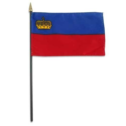 """Liechtenstein Flag 4 x 6 inch by US Flag Store. $1.80. 4 inch x 6 inch flag. Made from polyester and printed in bright colors. Mounted on a 10 inch plastic stick. Sewn around the edges. Liechtenstein stick flag 4 inch x 6 inch, Mounted on a 10"""" Plastic Stick. Flag is made from polyester and printed in bright colors to make an attractive flag. Each flag is individually sewn around the edges.. Save 25%!"""