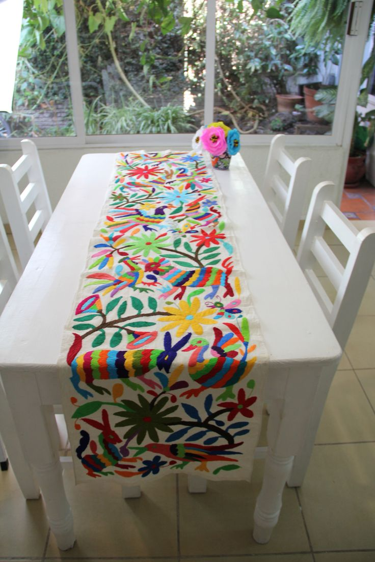 Gorgeous Multi Colored one of a kind Hand Embroidered Otomi Table runn – Casa Otomi Mexico, Tenango, mexican wedding, textile, mexican suzani, suzani, embroidery, hand embroidered, otomi, , otomi, table runner, fiber art, mexican, handmade, original, authetic, textile , mexico casa, mexican decor, mexican interior, frida, kahlo, mexican folk,  folk art, mexican house, mexican home, puebla collection, las flores, travel tote, boho, tote, handbag, purse, cushion, pillow
