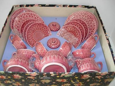 vintage pink Majolica tea set by My Vintage Toy Tea Sets
