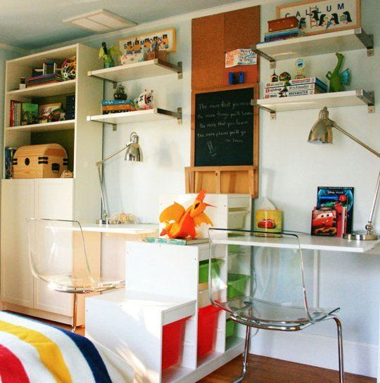 30 Beautiful Kids' Desks & Workspaces — Back to School 2013 | Apartment Therapy...love the one shown here but would use different chairs. IKEA cabinets and drawers it looks like.