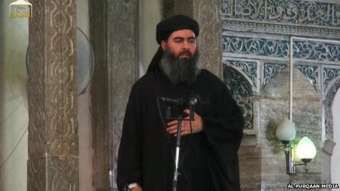 Still from Video showing ISIS chief Baghdadi in first video sermon, 4 July