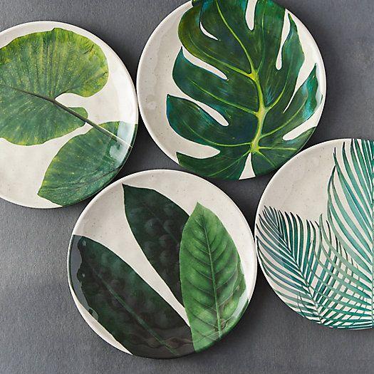 Tropical Foliage Melamine Plate