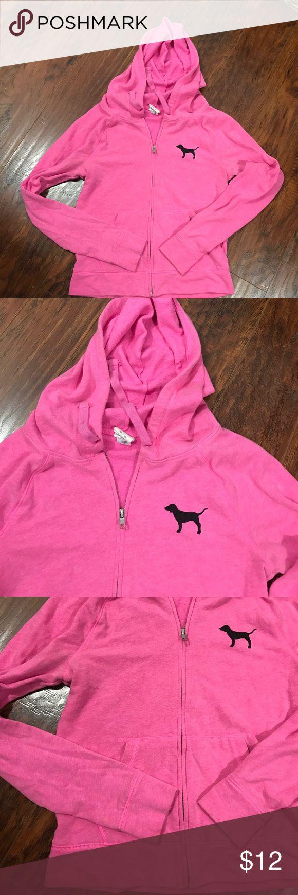 XS Pink zip up Hoodie Pink hoodie by Pink Victoria's Secret zip up with hood. 60% cotton, 40% polyester PINK Victoria's Secret Tops Sweatshirts & Hoodies