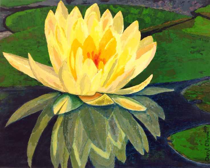 Acrylic painting called 'Water Lily' by Cheryl O'Byrne