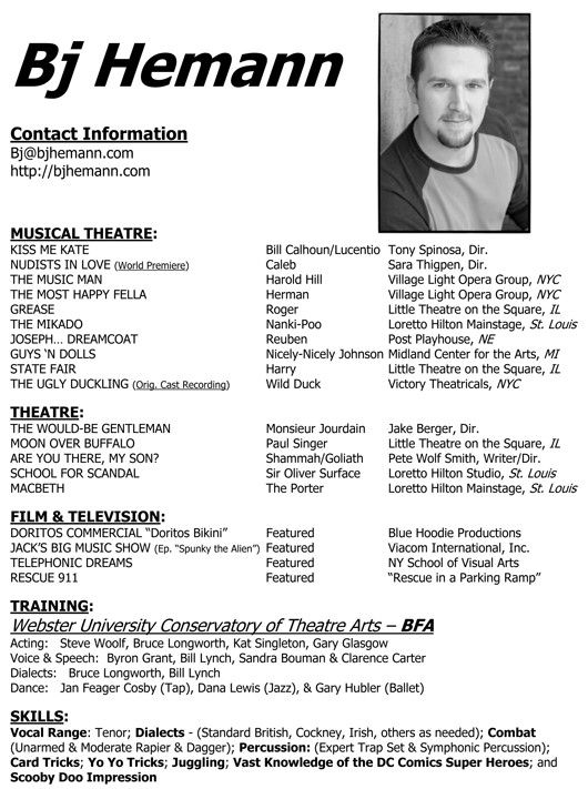 Sample Actor Resume Dance Audition Theater Template Modern Bric