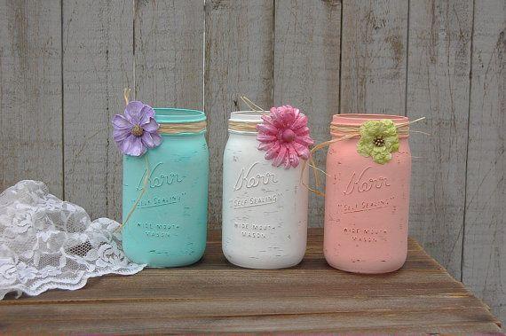 Shabby Chic Mason Jars, White, Mint Green, Blush, Coral
