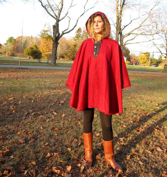 Wool Three Button Cape  Red by chrononautmercantile on Etsy, $195.00