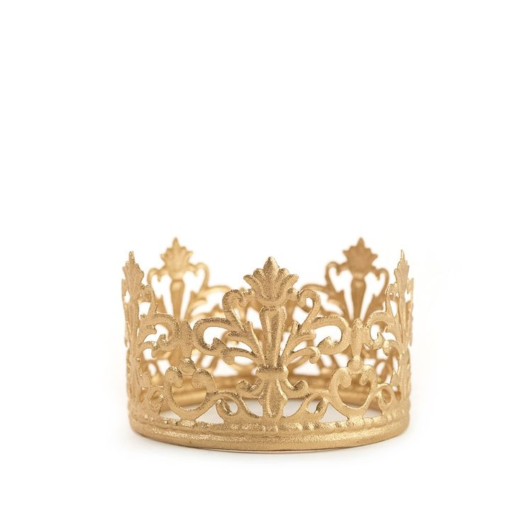 Petite gold crown Meet Jane. She's our most popular crown. With her delicate fleur de lis design, her quaintness sits pretty on the top tier of a wedding cake. - BEAUTIFUL ON YOUR CAKE - Perfect for f More