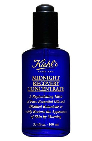 Kiehl's Since 1851 'Midnight Recovery Concentrate'.   Just a drop or two of this magical elixir keeps skin balanced and glowing