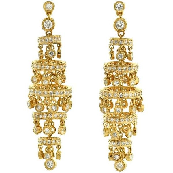 Preowned Contemporary Diamond Gold Chandelier Earrings (211.405 RUB) ❤ liked on Polyvore featuring jewelry, earrings, chandelier earrings, multiple, diamond dangle earrings, stud earrings, yellow gold diamond earrings, yellow gold stud earrings and long stud earrings