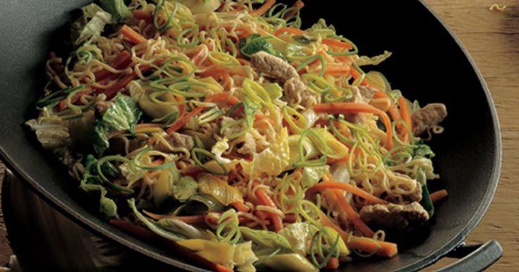 Wok med svinekød og nudler er en lækker wok opskrift med skinke, gulerødder og porrer. Den smagfulde marianade med ingefær og hvidløg sikrer en dejlig smag. Glæd dig!