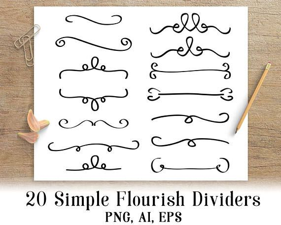 18 Doodle Lines Clipart Set 2, Wedding Clipart, Page Divider, Border Clipart,  Line Dividers By Digital Download Shop   TheHungryJPEG.com