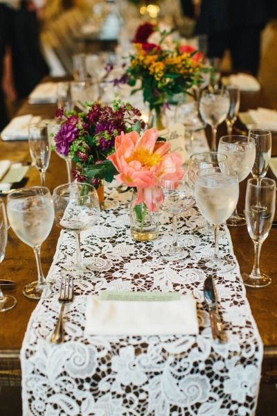 Lace table runner: http://www.stylemepretty.com/2014/10/20/romantic-fearrington-village-barn-wedding/ | Photography: Perry Vaile - http://perryvaileblog.com/