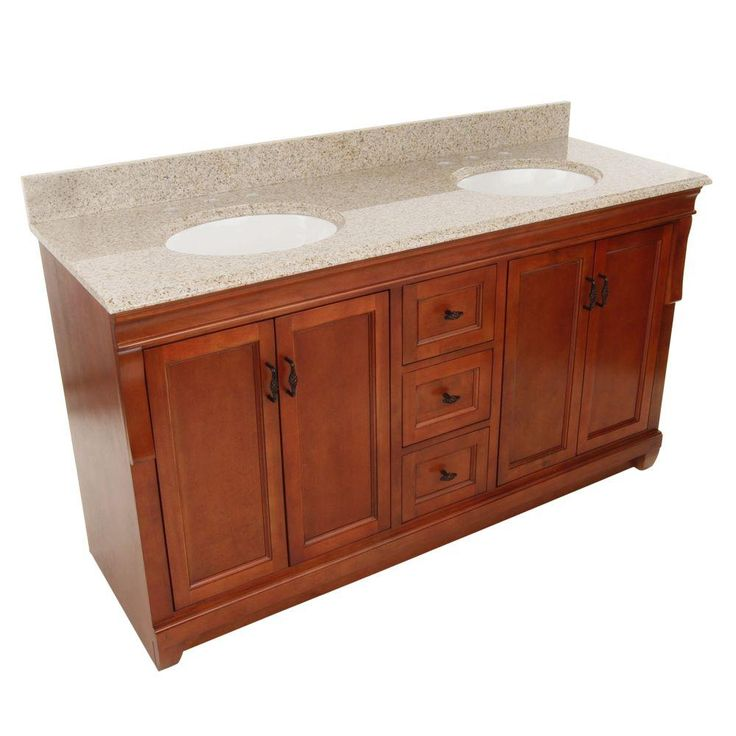 Foremost Naples 61 in. W x 22 in. D Vanity in Warm Cinnamon with Granite Vanity Top in Beige with Double Bowls in White-NACABG6122D