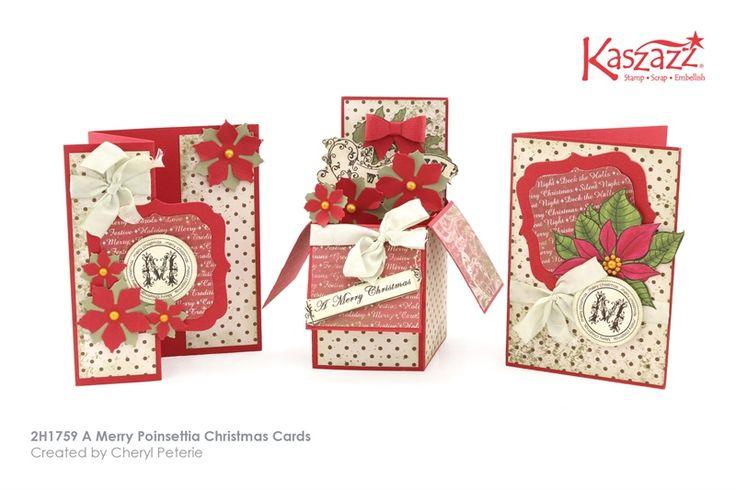 2H1759 A Merry Poinsettia Christmas Cards