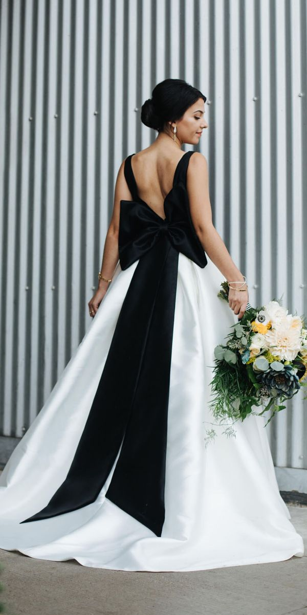 21 Gothic Wedding Dresses: Challenging Traditions ❤ gothic wedding dresses white and black a line sleeveless with straps big bow jennifer see studios ❤ See more: http://www.weddingforward.com/gothic-wedding-dresses/ #weddingforward #wedding #bride