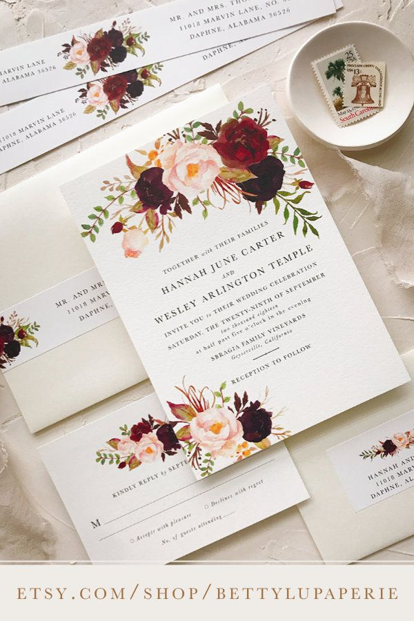 Boho Wedding Invitation Floral Wedding Invitation Wedding Invitation Wedding I Wedding Invitations Romantic Wedding Invitation Kits Wedding Invitation Cards