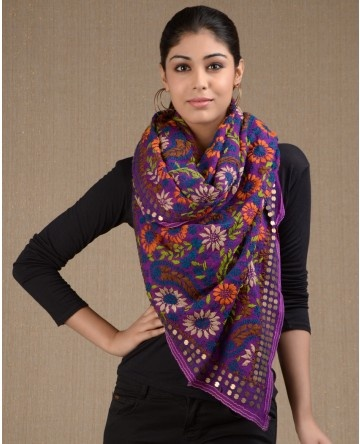 Floral embroidered purple phulkari stole