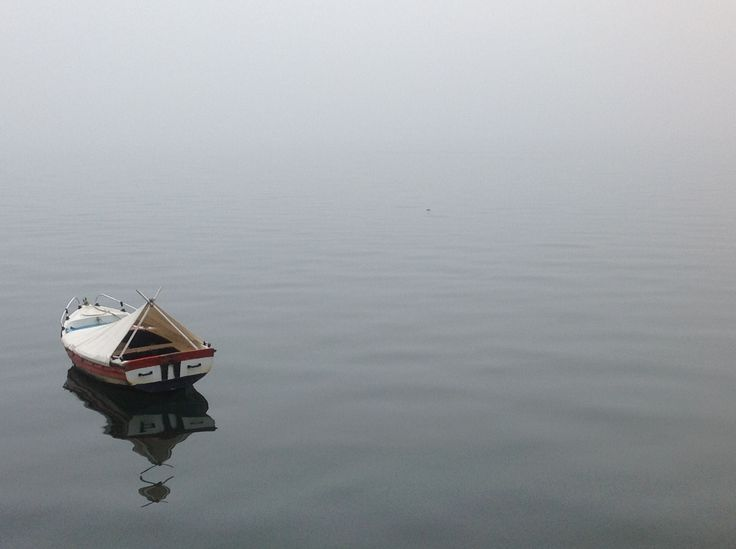 A liitle boat to vanish in the mist of Thermaikos sea in Thesaloniki...