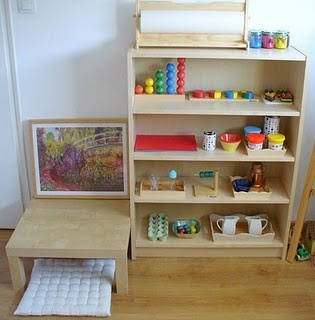 There are some lovely Montessori shelves in this space!