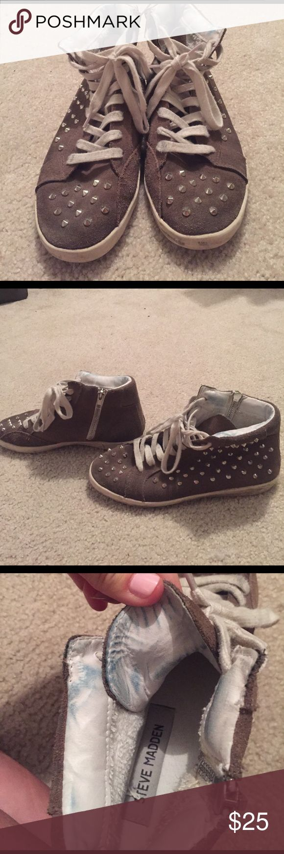 Steve Madden grey suede studded sneakers Suede studded sneakers worn out look- noticeable stains inside from denim rubbing-did not affect shoe at all! Worn out look, super comfortable!! Similar worn-in style to the golden goose sneaker that is very popular! Steve Madden Shoes Sneakers