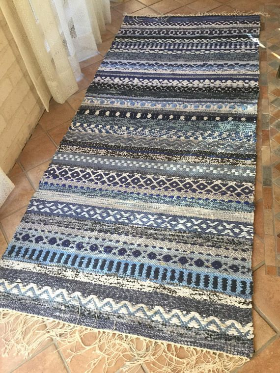 Suomi 100 Blue Rag rug with rosepath stripes