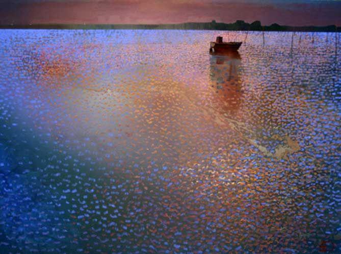 Midnight on the Bay (2005)- 31 x 43 Giclee on Canvas - SOLD Ton Dubbeldam