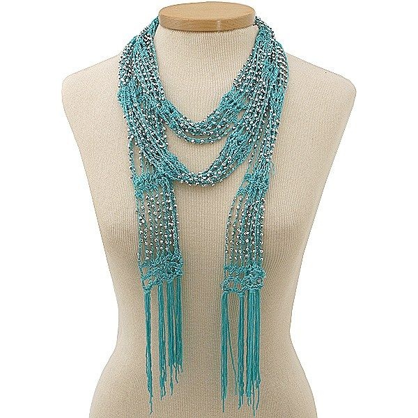 bead crochet scarf | Beaded Turquoise Crochet Skinny Scarf/ Necklace - Hur's